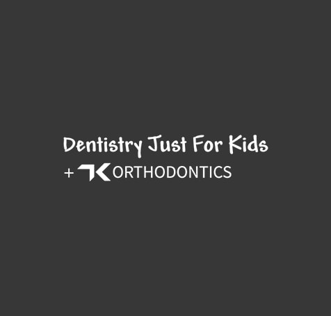 Dark background with dentistry just for kids logo