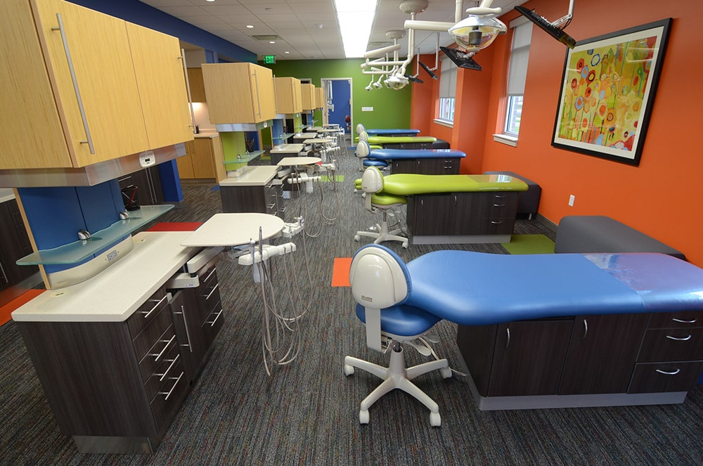 Children's surgery room showing dentist chairs and instruments