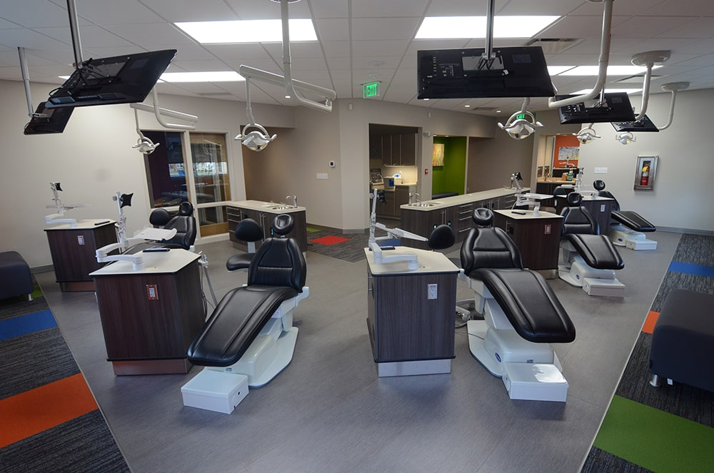 The surgery room with two dental chairs
