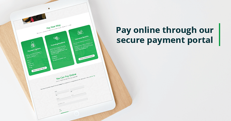 "Tablet preview of New Patients page with text: ""Pay online through our secure payment portal"""